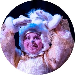 Child in furry animal costume